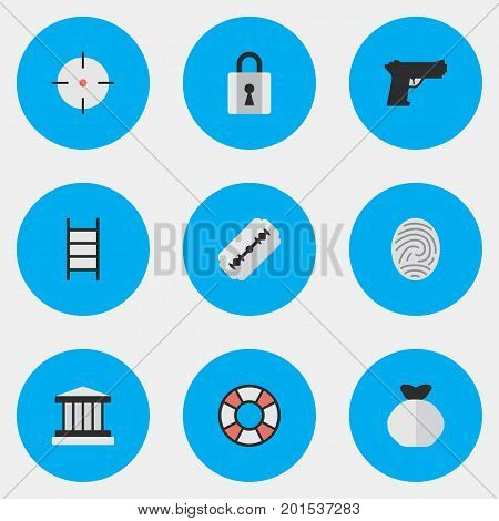 Elements Grille, Closed, Lifesaver And Other Synonyms Sack, Climbing And Sniper.  Vector Illustration Set Of Simple Crime Icons.