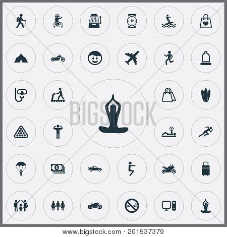 Elements PC, Lineage, Camping And Other Synonyms Retail, Club And Tourism.  Vector Illustration Set Of Simple Health Icons.