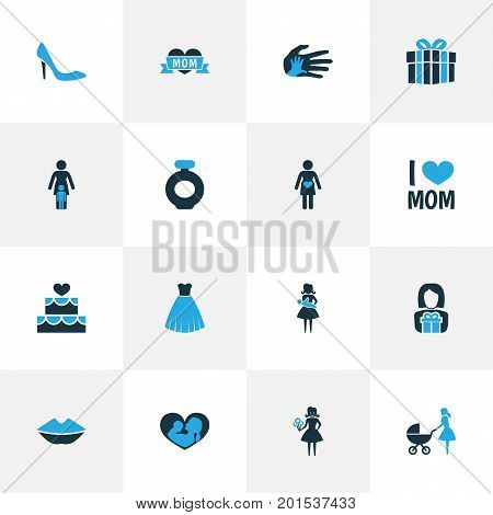 Mothers Day Colorful Icon Design Concept. Set Of 16 Such Elements As I Love Mom, Nanny And Cake