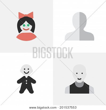 Elements Profile, Girl, Man And Other Synonyms Male, Woman And Man.  Vector Illustration Set Of Simple Profile Icons.