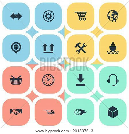 Elements Fast Cargo, Box, Retail And Other Synonyms Right, Gear And Revolve.  Vector Illustration Set Of Simple Logistics Icons.