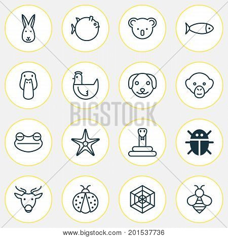 Animal Icons Set. Collection Of Moose, Bumblebee, Fish And Other Elements