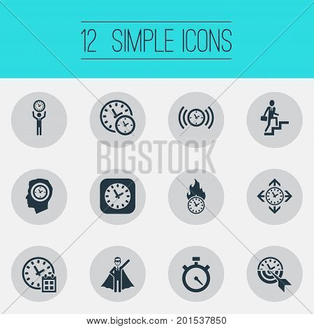 Elements Expert, Progress, Stopwatch And Other Synonyms Professional, Expert And Progress.  Vector Illustration Set Of Simple Management Icons.