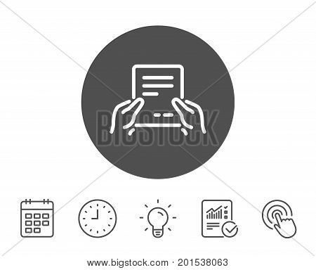 Hold Document line icon. Agreement Text File sign. Contract with signature symbol. Report, Clock and Calendar line signs. Light bulb and Click icons. Editable stroke. Vector