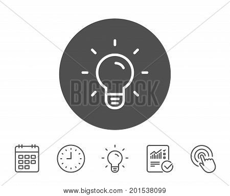 Light Bulb line icon. Lamp sign. Idea, Solution or Thinking symbol. Report, Clock and Calendar line signs. Light bulb and Click icons. Editable stroke. Vector