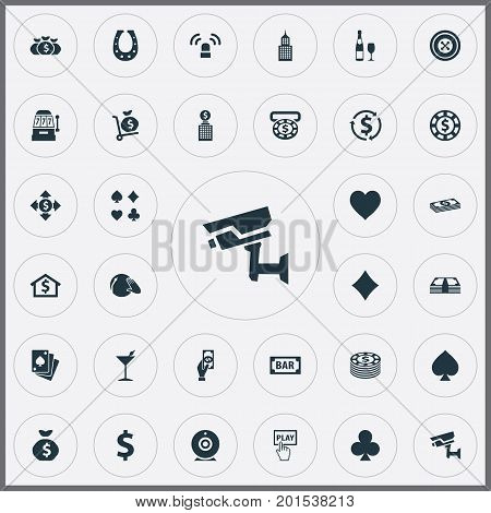 Elements House, Pay, Income And Other Synonyms Swap, Home And Dj.  Vector Illustration Set Of Simple Gambling Icons.