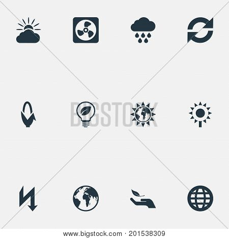 Elements Safe Lightbulb, Weather, Reuse And Other Synonyms Save, Care And Helianthus.  Vector Illustration Set Of Simple Ecology Icons.