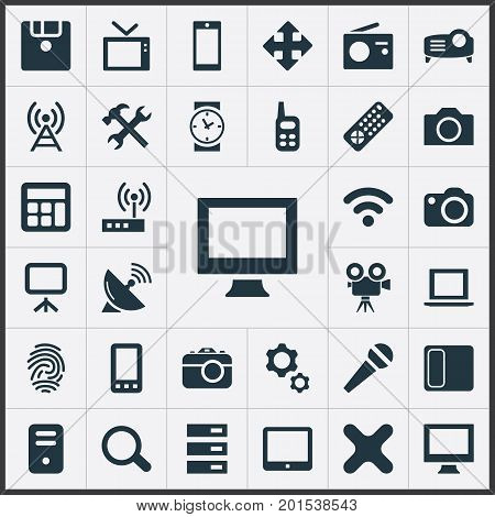 Elements Touchpad, Widen, Touchscreen And Other Synonyms Communication, Search And Fingerprint.  Vector Illustration Set Of Simple Hardware Icons.