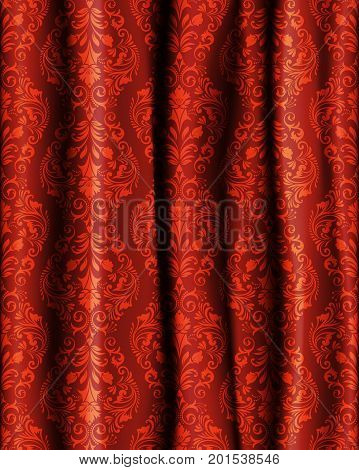 Realistic curtain with a pattern in Baroque style.Flower template of a red curtain. Vector illustration.