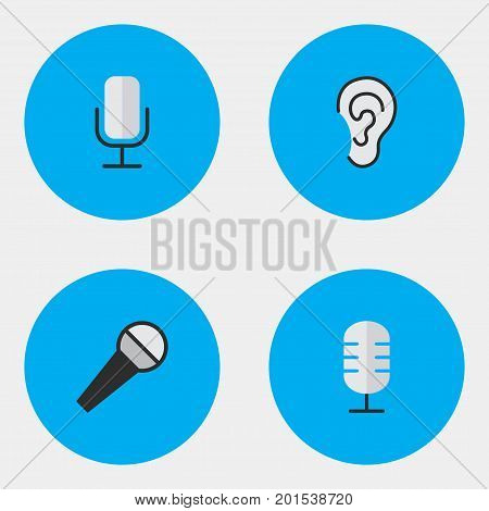 Elements Mike, Microphone, Listen And Other Synonyms Hear, Make And Amplifier.  Vector Illustration Set Of Simple Sound Icons.
