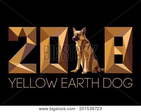 2018 and Dog is symbol of New year, according to Chinese calendar Year Of Yellow Earth Dog. Guard dog German shepherd in polygons style, sitting on hind legs. Pet and guard dog, loyal friend of man poster