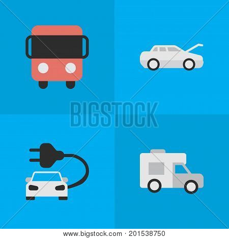 Elements Autobus, Automobile, Van And Other Synonyms Bus, Auto And Caravan.  Vector Illustration Set Of Simple Shipping Icons.
