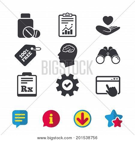 Medicine icons. Medical tablets bottle, head with brain, prescription Rx signs. Pharmacy or medicine symbol. Hand holds heart. Browser window, Report and Service signs. Vector