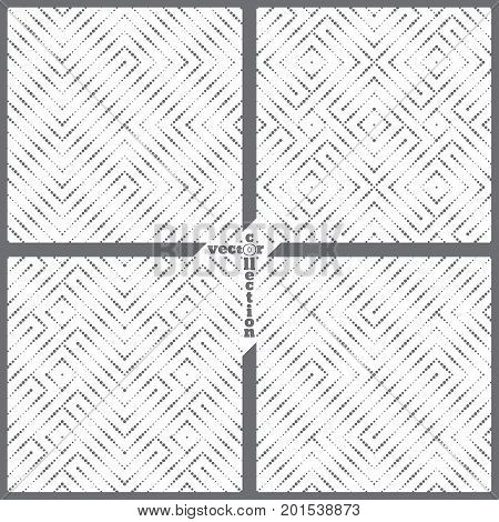 Set of vector seamless pattern. Collection of modern geometrical textures with regularly repetition small dots zigzags waves rhombuses diamonds. Abstract small dotted backgrounds