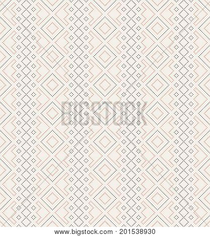 Vector seamless pattern. Trendy modern geometrical texture with regularly repetition small dots dotted rhombuses diamonds. Contemporary design.