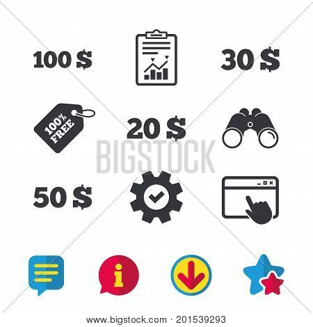 Money in Dollars icons. 100, 20, 30 and 50 USD symbols. Money signs Browser window, Report and Service signs. Binoculars, Information and Download icons. Stars and Chat. Vector
