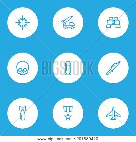 Army Outline Icons Set. Collection Of Cranium, Order, Shot And Other Elements