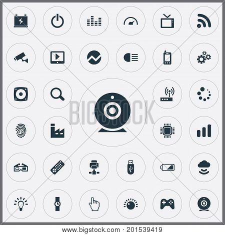 Elements Wireless Connection, Cogwheel, Medicine And Other Synonyms Printer, Cpu And 3D.  Vector Illustration Set Of Simple Hitech Icons.