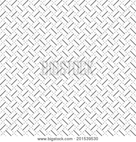 Vector seamless pattern. Abstract small textured background. Classical simple repeating geometrical texture with repetition thin lines dotted rhombuses. Surface for wrapping paper shirts cloths.
