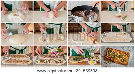A Step By Step Collage Of Making Blue Cheese Pork Pizza