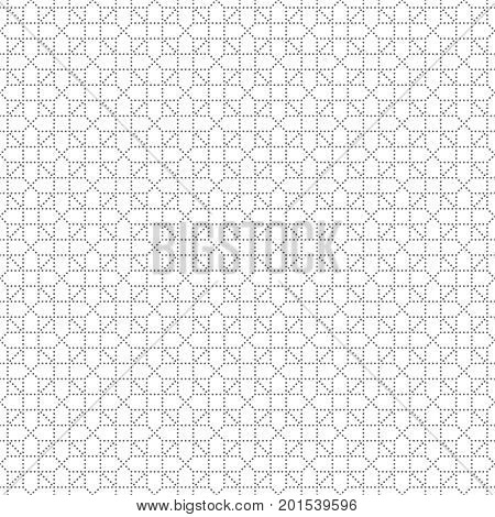 Vector seamless pattern. Trendy modern geometrical texture with regularly repetition small dots dotted crosses triangles. Contemporary design.