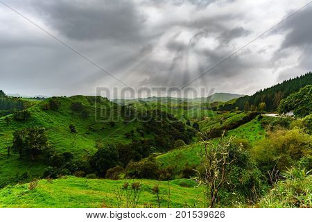Beautiful scenery of mountains and sunrays along the way on Whanganui river road in National Park Whanganui North Island of New Zealand