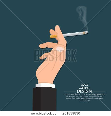 The male hand keeps the smoking cigarette in a suit.Fight against smoking. Smoking area.No to addictions.Vector illustration with the place for the text.