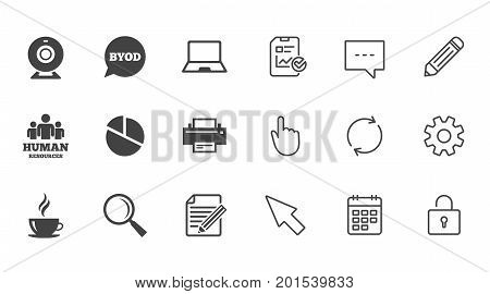 Office, documents and business icons. Pie chart, byod and printer signs. Report, magnifier and web camera symbols. Chat, Report and Calendar line signs. Service, Pencil and Locker icons. Vector