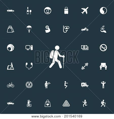 Elements Hairstyle, Distance Learning, Bodybuilding And Other Synonyms Yin-Yang, Salon And Travelling.  Vector Illustration Set Of Simple Yoga Icons.