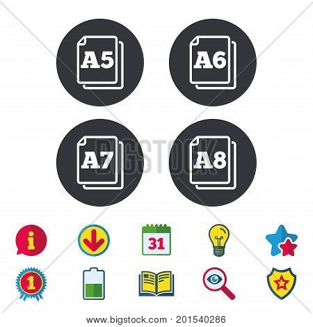 Paper size standard icons. Document symbols. A5, A6, A7 and A8 page signs. Calendar, Information and Download signs. Stars, Award and Book icons. Light bulb, Shield and Search. Vector