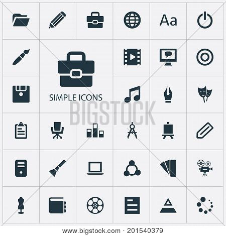 Elements Armchair, Worldwide, Movie And Other Synonyms Floppy, Handbag And Conversation.  Vector Illustration Set Of Simple Icon Icons.