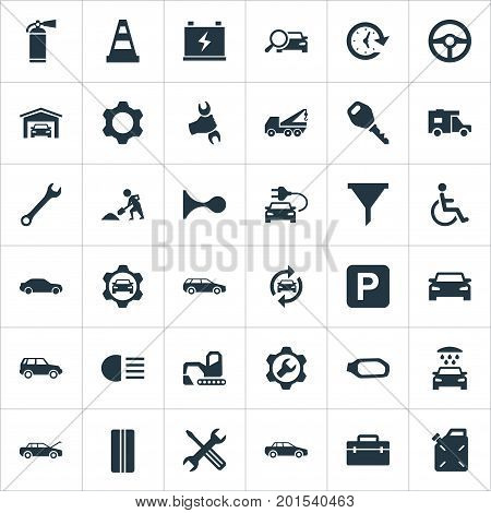 Elements Filter, Electro Car, Carriage Wash And Other Synonyms Tools, Fire And Tread.  Vector Illustration Set Of Simple Vehicle Icons.