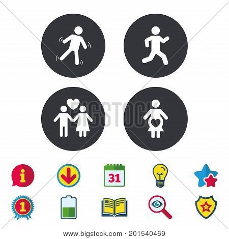 Women pregnancy icon. Human running symbol. Man love Woman or Lovers sign. Calendar, Information and Download signs. Stars, Award and Book icons. Light bulb, Shield and Search. Vector