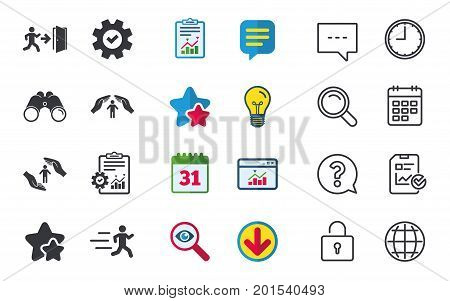 Life insurance hands protection icon. Human running symbol. Emergency exit with arrow sign. Chat, Report and Calendar signs. Stars, Statistics and Download icons. Question, Clock and Globe. Vector