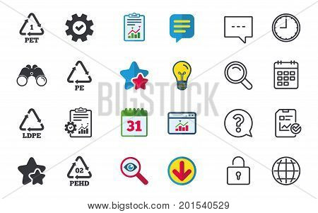 PET, Ld-pe and Hd-pe icons. High-density Polyethylene terephthalate sign. Recycling symbol. Chat, Report and Calendar signs. Stars, Statistics and Download icons. Question, Clock and Globe. Vector