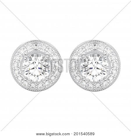 3D illustration two white gold or silver diamonds screw post sterling stud earrings on a white background