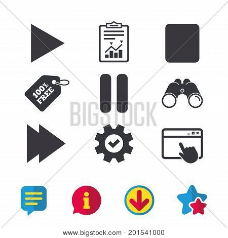 Player navigation icons. Play, stop and pause signs. Next song symbol. Browser window, Report and Service signs. Binoculars, Information and Download icons. Stars and Chat. Vector