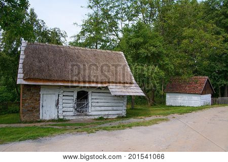 Typical timbered granaries in the Czech countryside Open Air Museum in Kourim vernacular architecture Czech Republic