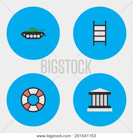 Elements Grille, Military, Stairs And Other Synonyms Jail, Court And Lifesaver.  Vector Illustration Set Of Simple Crime Icons.