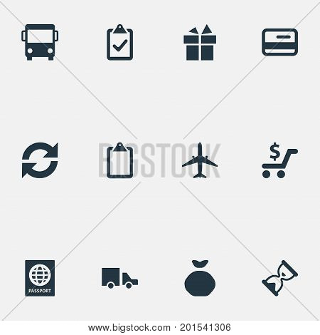 Elements Checklist, Repeatability, Autobus And Other Synonyms Bus, Road And Autobus.  Vector Illustration Set Of Simple Surrender Icons.