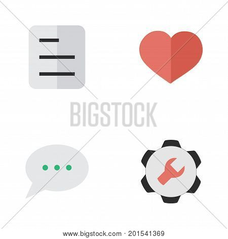 Elements Document, Message Bubble, Heart And Other Synonyms Message, Love And Chat.  Vector Illustration Set Of Simple Menu Icons.