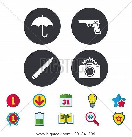 Gun weapon icon.Knife, umbrella and photo camera with flash signs. Edged hunting equipment. Prohibition objects. Calendar, Information and Download signs. Stars, Award and Book icons. Vector