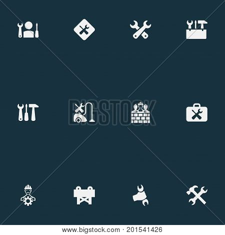 Elements Vacuum Cleaner, Repairing, Fix And Other Synonyms Hand, Barrier And Instrument.  Vector Illustration Set Of Simple Mending Icons.