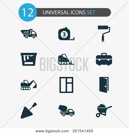 Construction Icons Set. Collection Of Measure Tool, Entrance, Carry Cart And Other Elements