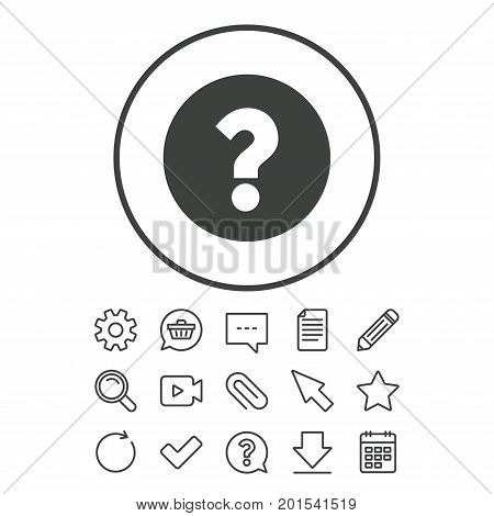 Question mark sign icon. Help symbol. FAQ sign. Document, Chat and Paper clip line signs. Question, Pencil and Calendar line icons. Star, Download and Shopping cart. Vector
