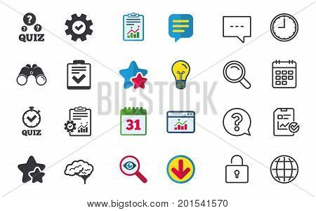 Quiz icons. Human brain think. Checklist and stopwatch timer symbol. Survey poll or questionnaire feedback form sign. Chat, Report and Calendar signs. Stars, Statistics and Download icons. Vector