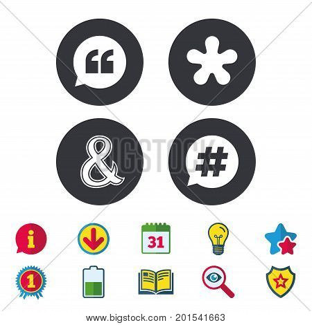 Quote, asterisk footnote icons. Hashtag social media and ampersand symbols. Programming logical operator AND sign. Speech bubble. Calendar, Information and Download signs. Stars, Award and Book icons