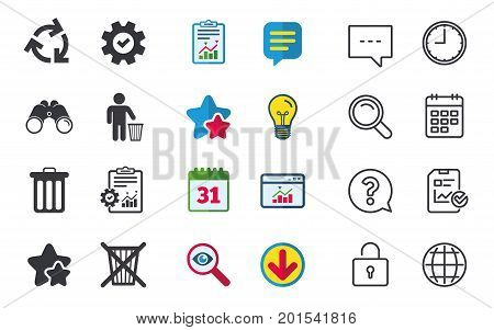 Recycle bin icons. Reuse or reduce symbols. Human throw in trash can. Recycling signs. Chat, Report and Calendar signs. Stars, Statistics and Download icons. Question, Clock and Globe. Vector