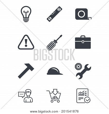 Repair, construction icons. Engineering, helmet and screwdriver signs. Lamp, electricity and attention symbols. Customer service, Shopping cart and Report line signs. Online shopping and Statistics