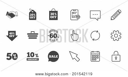 Sale discounts icon. Shopping, handshake and cart signs. 10, 50 and 60 percent off. Special offer symbols. Chat, Report and Calendar line signs. Service, Pencil and Locker icons. Vector